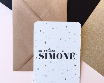 """Card 10x15 cm """"En voiture Simone"""" with envelope"""