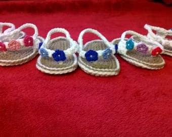 Handmade crocheted flip flop style sandals