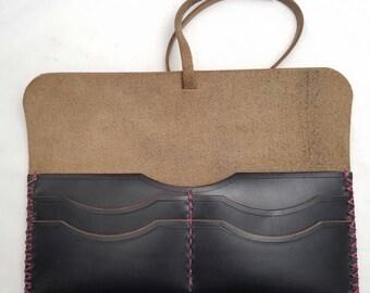 Women's Horween Wallet, Wraparound, Handmade Beautiful Design, Black Chromexcel Horween Leather, Classic Clutch