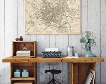 1839 Antique Map of Birmingham| Birmingham City Plan| Birmingham Street Map| Birmingham Old Map| England Maps| Birmingham Wall Art| AMC059