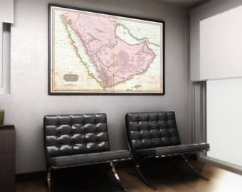 Arabia Peninsula Map| Arabia Old Map| 1818 Arabia Map| Middle East Old Map| Old Maps| Middle East Map| Old Map Wall Print| Arabia| AMC106