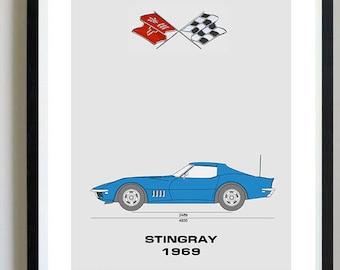Corvette patent etsy chevrolet corvette stingray 1969 corvette artwork blueprint specs blueprint patent prints posters malvernweather Images