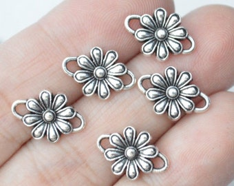 15 Pcs Flower Connector Charms Antique Silver Tone 15x11mm - YD0526