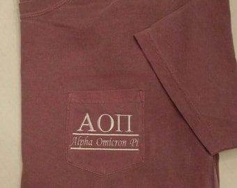 Sorority Shirts, Alpha Omicron Pi, AOPi, Big Little, Greek Letters, Pocket T Shirt, Monogrammed Pocket Tee, Personalized T Shirt