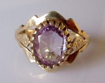Vintage 9ct Gold Amethyst Ring UK Size K