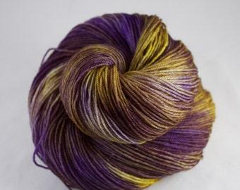 Hand Dyed Sock Yarn, hand dyed wool, variegated sock yarn, nylon sock yarn, purple, yellow