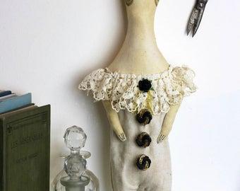 Circus Doll, hand made doll, cloth doll, vintage textile, figurine, puppet, artist doll, circus doll, textile art, Helga Harlequin