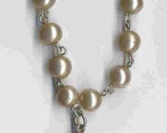 80% Silver Canadian 1963 Silver Dollar Faux Pearl Coin Bracelet