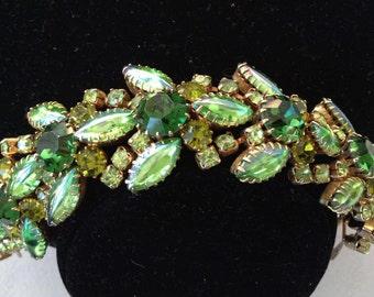 1950s Green Rhinestone Bracelet