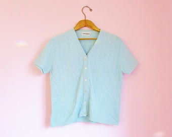 Vintage 70s Pastel Blue Short-Sleeve Cardigan Sweater - Size S/M