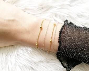 Gold Fill Bracelet, 14k Gold Fill Bracelet, Satellite Gold Bracelet, Delicate Dainty Chain Bracelet, Layered Bracelet Chain, Stacking