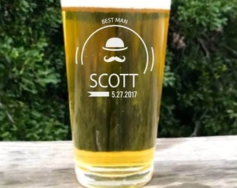 Groomsmen Pint Glass, 10 Engraved Pub Glass, Custom Pint glass, Beer Glass, Etched Pub glass, Custom Pint Glass, Wedding Party beer glasses