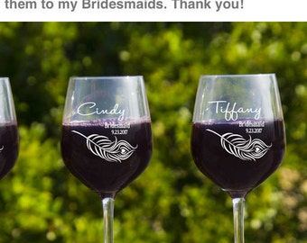 Personalized Wine Glass, Bridesmaid Wine Glass, Bridesmaids Glasses, Wedding Favor Ideas, Bridal Shower Gifts, Bridesmaids Gift, Etched Wine