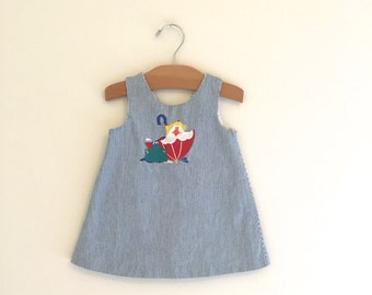 Vintage 90's Blue Pinstriped Dress, Vintage Baby Dress, Vintage Duck Dress, Vintage Spring Dress, Size 18 months