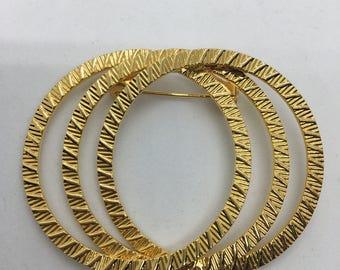 Layered  & Textured Gold Tone Circular Pin Brooch