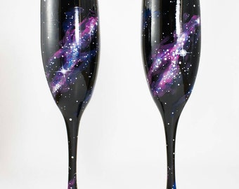 Hand Painted Galaxy Wedding Glasses, Set of 2 - galaxy champagne glasses, champagne flutes, celestial wedding, space wedding, outer space