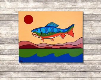 Brook Trout, Folk Art Painting, Modern Folk Art, Fish, Landscape, Acrylic Painting, Abstract Art, Original Painting by JP Goodman