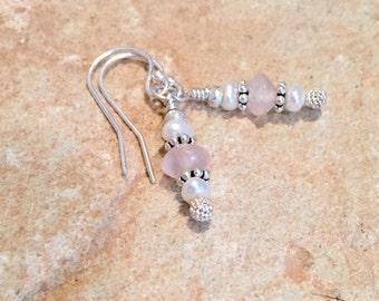 Pink drop earrings, pearl drop earrings, rose quartz drop earrings, Hill Tribe silver earrings, sterling silver dangle earrings gift for her