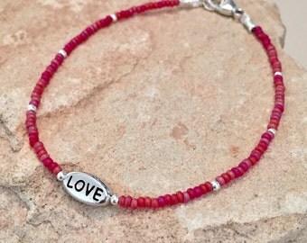 Ruby red seed bead bracelet, message bracelet, love bracelet, charm bracelet, sterling silver bracelet, boho bracelet, gift for her