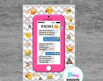 Cell phone Emoji Tween Teen Birthday Invitation; Cellphone; Invitation; Emoji Invite; Cellphone Invite; Tween Birthday; Teen Birthday; text