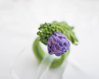 flower ring women Lampwork thistle ring,  glass ring for women, unique gift , purple ring, green ring for girl