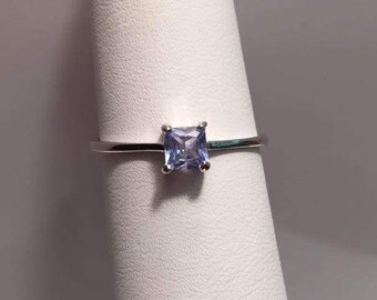 1/2 CTW Blue Topaz Square Ring & Cubic Zirconia in Sterling Silver