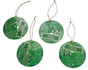 SET of 4 - Circuit Board Upcycled E-Waste Ornaments