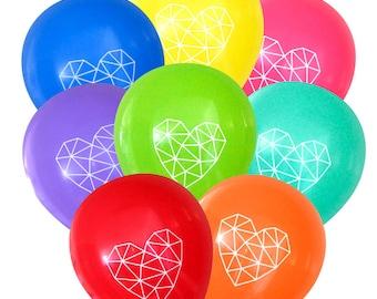 Geometric Heart Balloons - Bright Colors - 8 Pack | Himmeli Birthday Decorations Bridal Baby Shower | Boho Bohemian String Art Dream Catcher