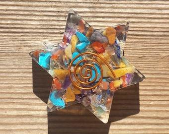 7 CHAKRA MIXED Orgone Gemstone Star Charging Plate