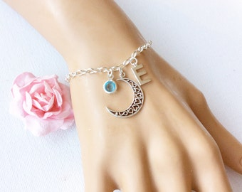 Sterling silver moon bracelet, Initial and birthstone bracelet, sterling silver handmade bracelet, birthstone bracelet,silver moon bracelet,
