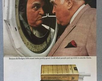 1970 Benson & Hedges 100's Cigarette Print Ad