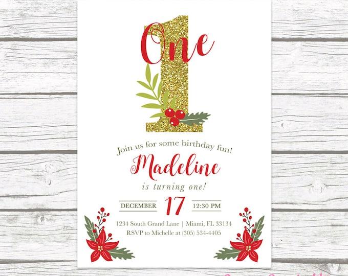 Christmas Birthday Invitation, Christmas First Birthday Invitation, Girl 1st Birthday, Holly Birthday Party Invitation, Birthday Invite