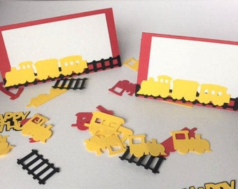 5 Train Birthday Food Tent Cards, Red and Yellow Train Tent Cards, Place cards