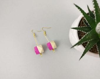Geometric Earrings - Pink Earrings | Statement Earrings | Nickel Free | Dangle earrings | Gift for her | Gift for wife | Bridesmaid gift