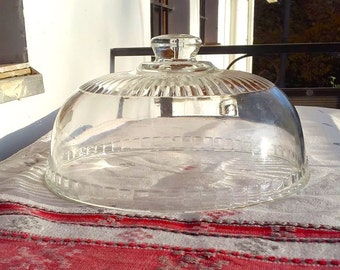Vintage French glass dome for cookies and cakes/  French Cheese glass dome/  French shabby chic decor