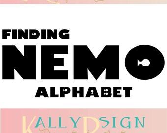Finding Nemo SVG, alphabet letters, svg fonts, monogram fonts, disney svg, finding Dory SVG, disney monogram svg, Alphabet SVG