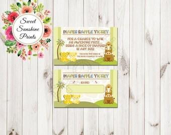 Lion King Baby Shower Diaper Raffle - Print - 25 Pack - 50 Pack - 75 Pack - 100 Pack