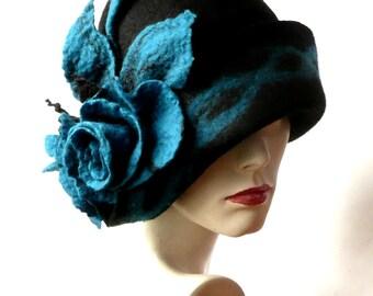 Black Felt Hat felted hat Cloche Hat 1920 Hat Art Hat Cloche Victorian 1920's  Wool Women's hat felt hats felted hats black felt hat
