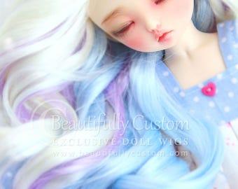 Winter Fairy 6-7 Doll Wig by ©BC - Ultra Plush - BJD, Littlefee, Minifee, YoSD, Patsy, Boneka - White Unicorn Rainbow Fantasy Blue Purple