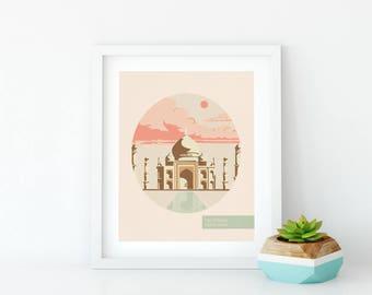 Nursery Wall Art - World Traveler - World Travel - Taj Mahal - Gift For Traveller - Minimalist Poster – Cute Apartment Décor – Poster