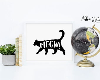 Kitten Printable - Cat Print - Animal Print - Animal Sounds - Animal Nursery - Meow Printable - Black and White - Instant Download - 8x10