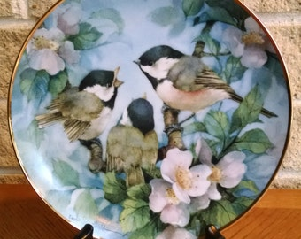 Chickadee Plate- Treetop Harmony by Carolyn Shores Wright - 1993 Franklin Mint Limited Edition - Bird Plate - Black Capped Chickadee