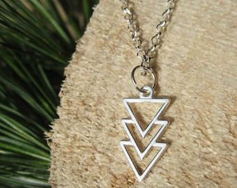 Sterling Silver Triple Arrow Triangle Geometric Necklace