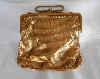 Vintage Gold Mesh Glomesh Evening Purse with Snake Chain Handle 1960's  #20054