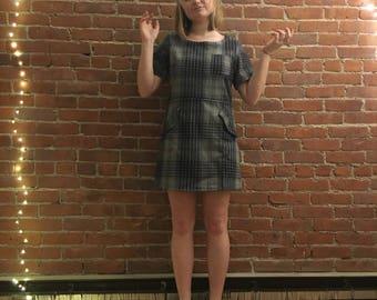Vintage Plaid Wool Mod Dress