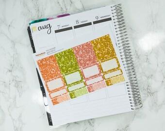 Glitter Headers - Pink Lemonade Sticker Kit Add On - Erin Condren vertical - Happy Planner - summer - faux glitter