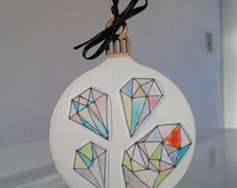 Wooden Christmas Bauble, Painted Tree Bauble, Contemporary Bauble