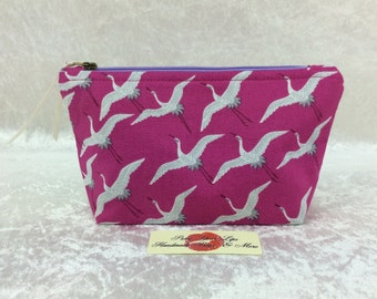 Cranes  Zip Case Bag Pouch fabric Handmade in England