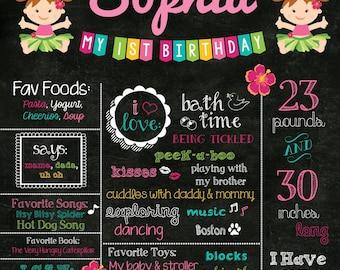 Luau Birthday Poster - Birthday Chalkboard - Hula Girl Chalkboard Birthday Sign - Luau 1st Birthday Poster Chalkboard