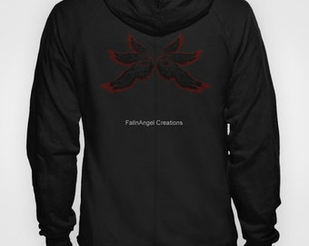 Black Red Archangel Wings Hoodie, 4 Sizes Available + Pull Over or Zip Up - Supernatural, Lucifer